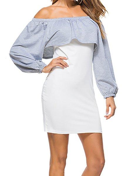 Elegant Ruffled Paneled Off Shoulder Bodycon Dress