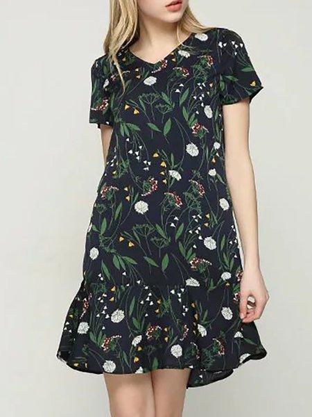 Printed Floral Elegant V neck A-line Paneled Polyester Dress