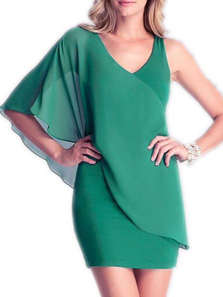 Chiffon Single Sleeve V Neck Sheath Elegant Paneled Dress