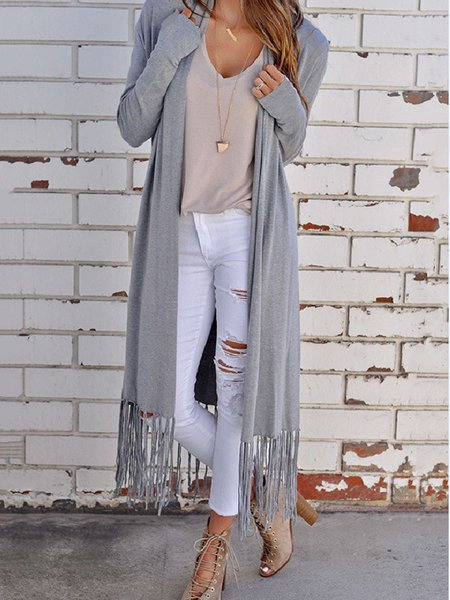 Cotton Stripes Casual Fringed Long Sleeve Cardigan