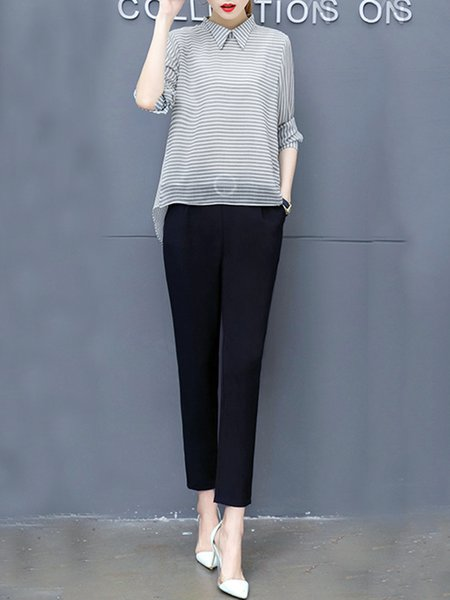 Two Piece Paneled Casual Long Sleeve Women's Co-ord