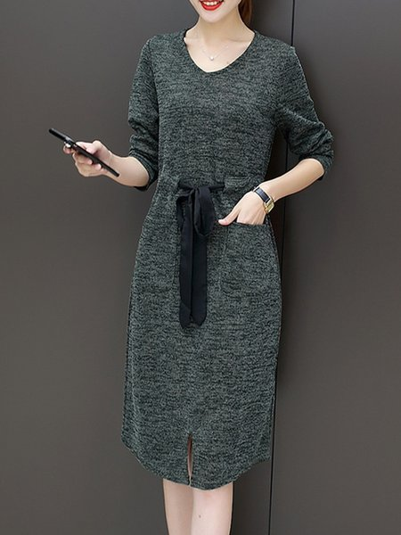 Solid Paneled Casual Long Sleeve H-line Dress