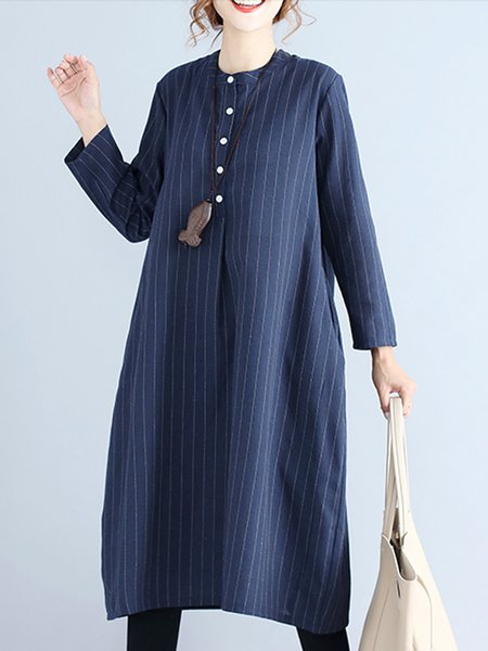 Stripes A-line Folds Casual Long Sleeve Dress