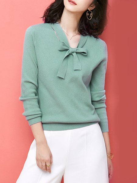 Solid Simple Knitted Long Sleeve Sweater