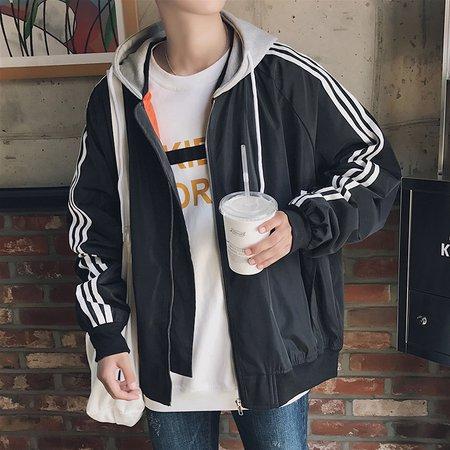 Stripes Long Sleeve Casual Hoodie Jacket