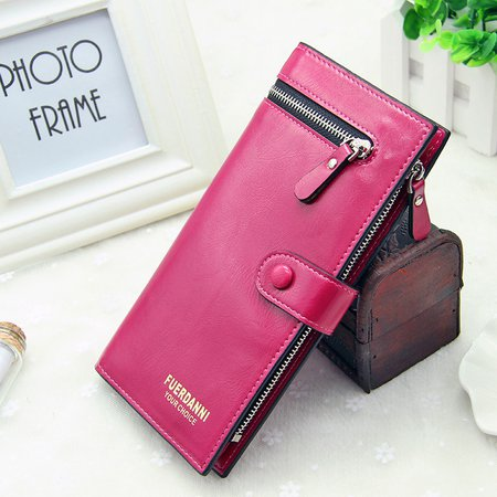 Women Pu Leather Oil Leather 26 Card Slots Wallet Holder Purse