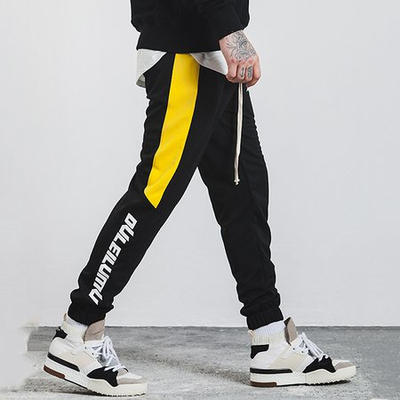 Letter Buttoned Polyester Casual Track Pant