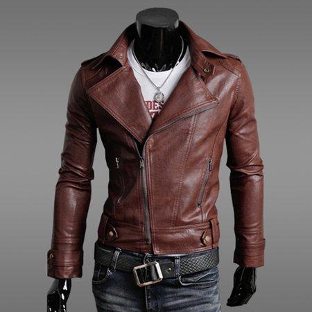 Zipper PU Shirt Collar Casual Jacket