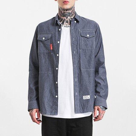 Pockets Casual Shirt Collar Long Sleeve Shirt