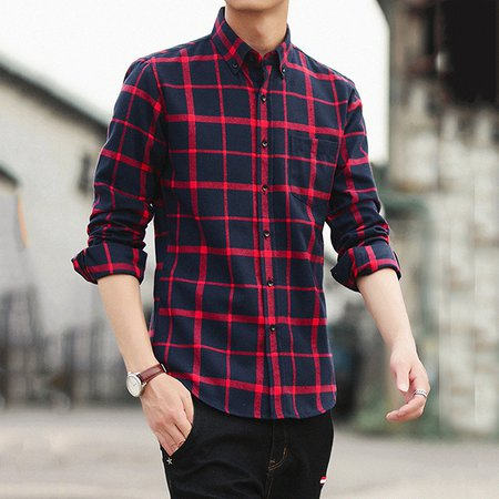 Long Sleeve Casual Cotton Plaid Shirt