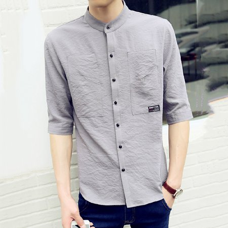 Half Sleeve Cotton Stand Collar Buttoned Shirt