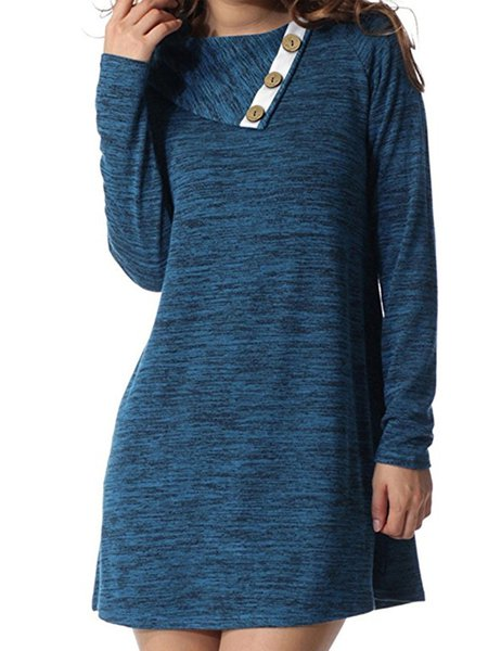 Women Casual Dress Crew Neck Shift Daily Long Sleeve Solid Dress