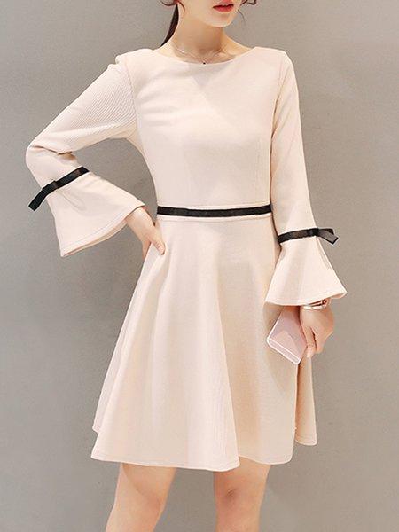 Bell Sleeve Crew Neck Elegant Dress