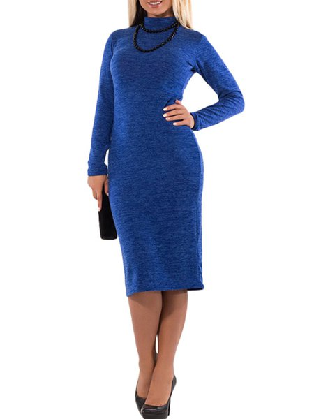 Women Casual Dress Turtleneck Sheath Daily Paneled Solid Dress