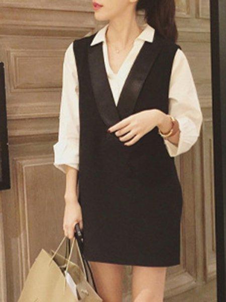 Paneled Two Piece Solid Long Sleeve Elegant Dress