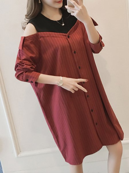 Multicolor Long Sleeve Stripes Shift Cold Shoulder Dress