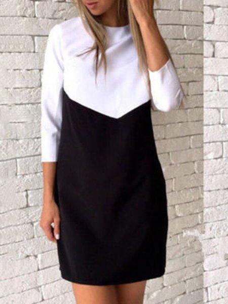 3/4 Sleeve Cotton-blend Casual H-line Crew Neck Dress