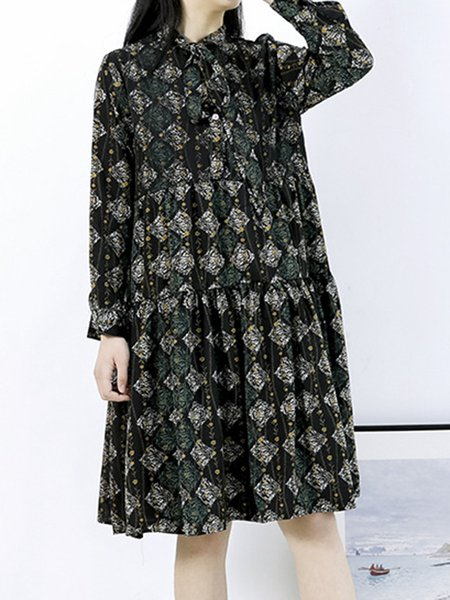 Printed Floral Long Sleeve Polyester Dress