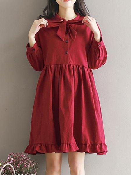 Bow Casual Long Sleeve Dress