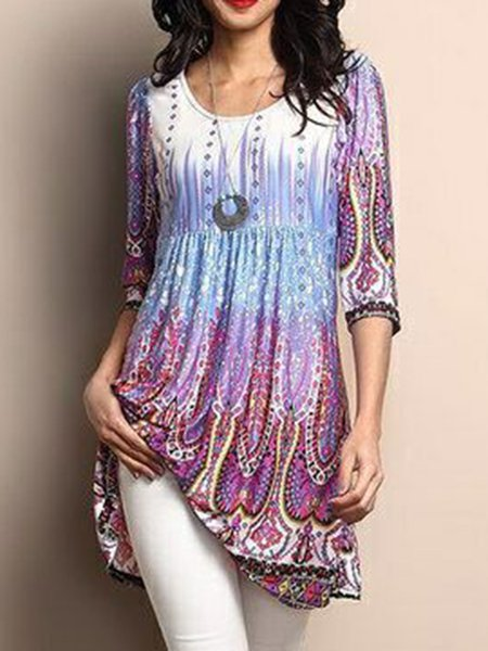 Women Print Dress Crew Neck A-line Daytime Casual Floral-print Dress