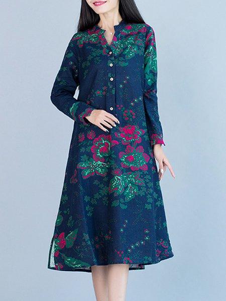 Linen Printed Casual Shift Dress