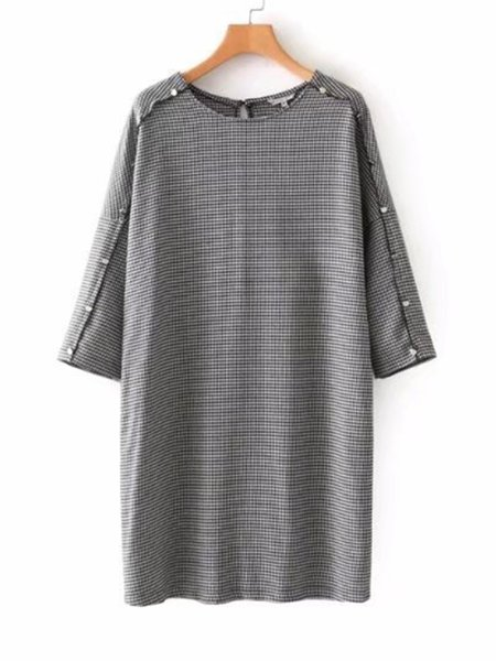 Houndstooth Zipper Casual Dress