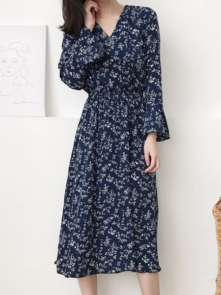 Royal Blue Elegant Floral Dress