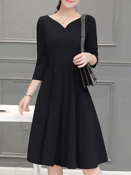 Black Casual Solid Cotton-blend A-line Dress