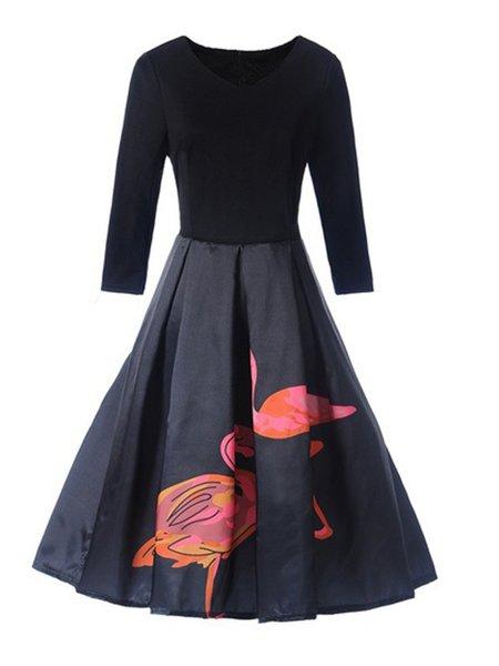 Crew Neck Animal Elegant Long Sleeve A-line Dress