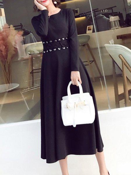 Black A-line Solid Elegant Cotton-blend Dress