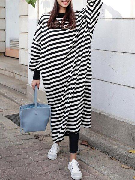 Women Casual Dress Crew Neck Shift Daily Paneled Striped Dress