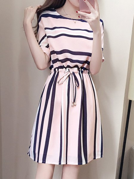 Pink Women Elegant Dress Crew Neck Daytime Stripe Bow Dress