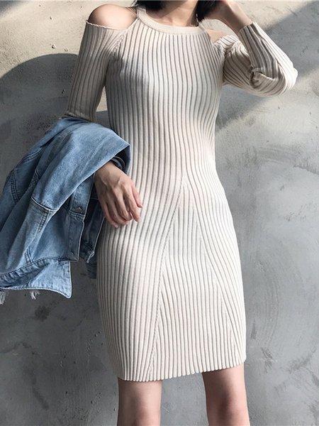 Women Elegant Dress Off Shoulder Sheath Daily Elegant Knitted Dress