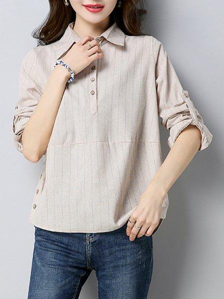 Stripes Long Sleeve Linen Blouse