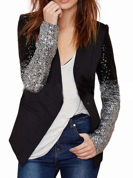 Black Paneled Shawl Collar Jacket