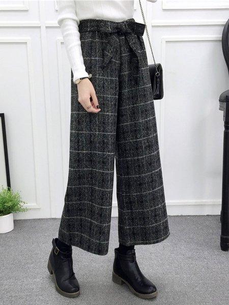 Deep Gray Stripes Casual Pants