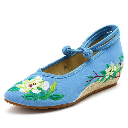 Lotus Embroidered Buckle Folkways Wedges Shoes