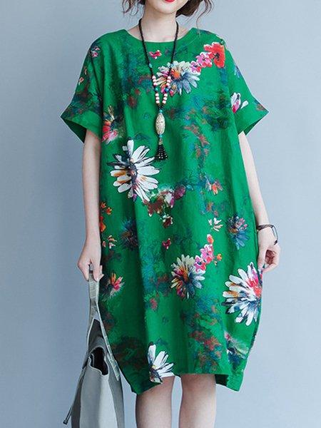 Green Women Print Dress Crew Neck Shift Daytime Short Sleeve Floral Dress