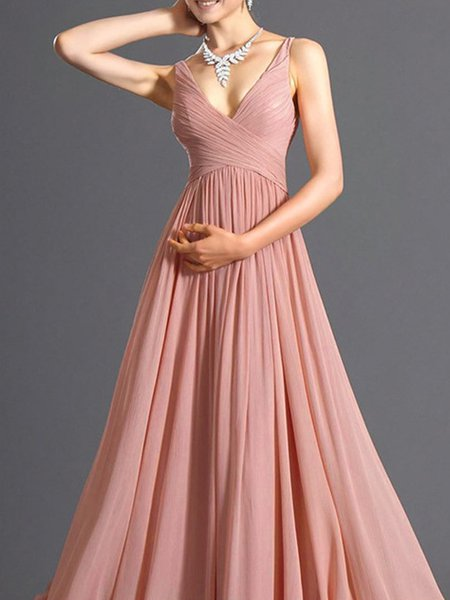 Pink Chiffon Sleeveless Solid Swing Dress