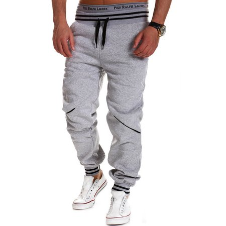 Mens Sport Elastic Waist Buttons Decorated Casual Pants