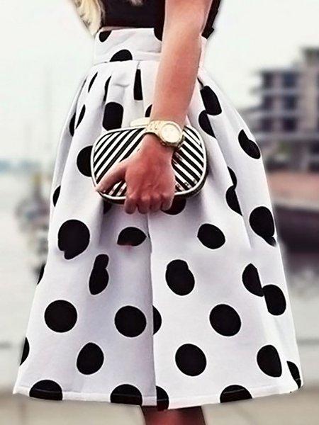 White Polka Dots Skater Skirt