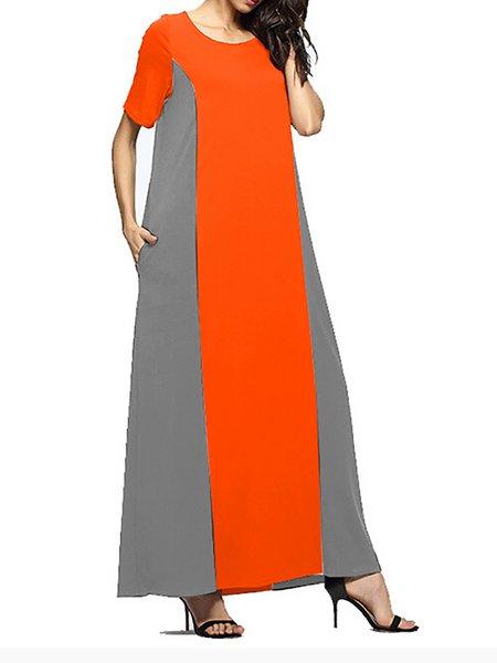 Women Casual Dress Crew Neck Shift Going out Short Sleeve Casual Dress