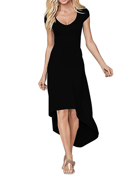Women Elegant Dress Crew Neck Asymmetrical Going out Short Sleeve Elegant Dress