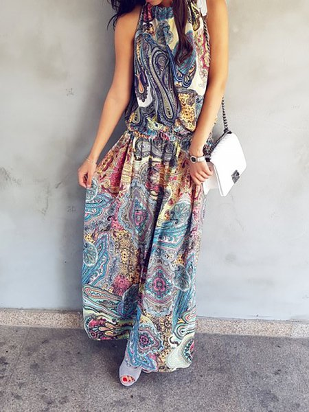 Blue Women Print Dress Swing Daily Linen Printed Dress
