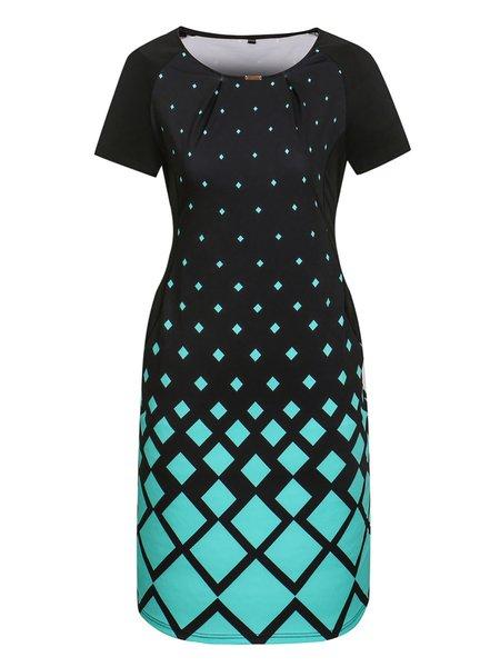 Women Print Dress Crew Neck Bodycon Date Cotton Geometric Dress
