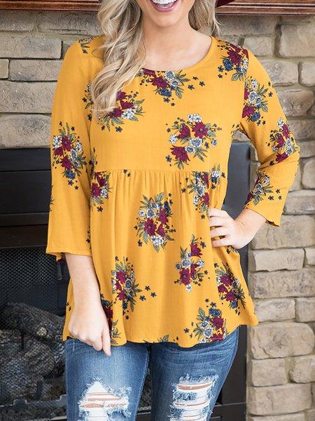 Yellow Paneled Casual Cotton T-Shirt