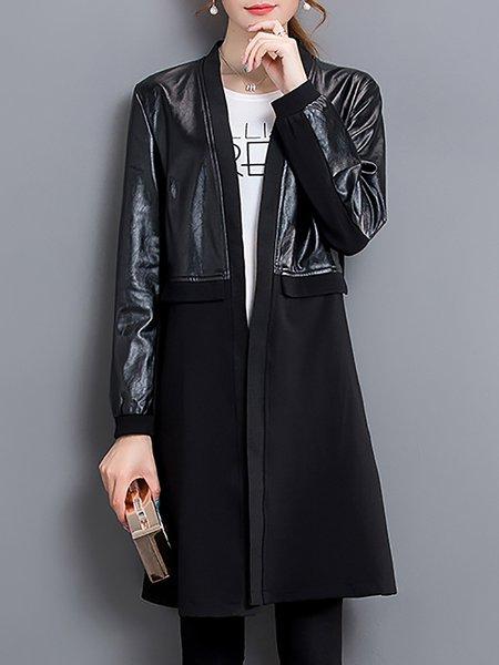PU Long Sleeve Paneled Coat