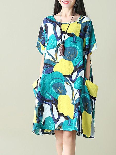 Women Print Dress Crew Neck A-line Daytime Cotton-blend Painted Dress