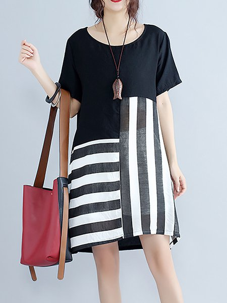 Black Women Casual Dress Crew Neck A-line Going out Short Sleeve Elegant Dress