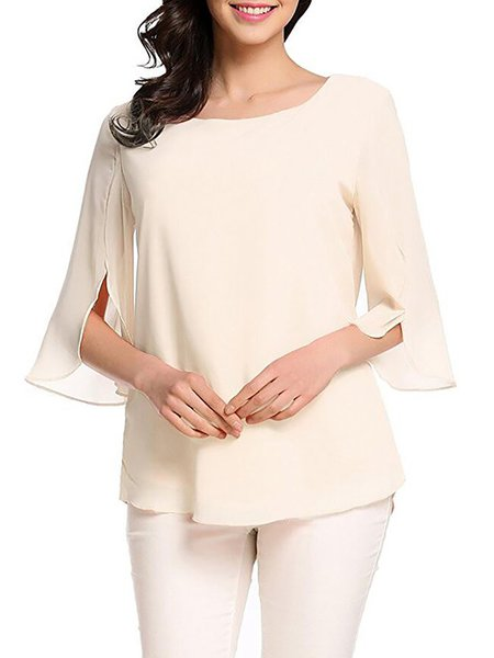 Chiffon Casual Paneled T-Shirt